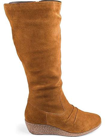 617e66d79f0 Leather Wedge Boots EEE Standard Calf