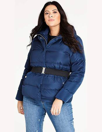 58839af692ce2 Navy Double Layer Belted Puffer Jacket from Simply Be