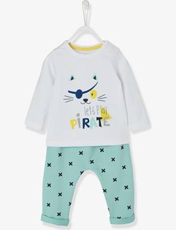 9e91bc6229b5d Baby Boys' Top + Trouser Outfit, Pirate Cat Motif white light solid with  design