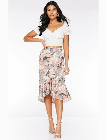 577c3749f Nude And Pink Abstract Print Wrap Midi Skirt from Quiz Clothing
