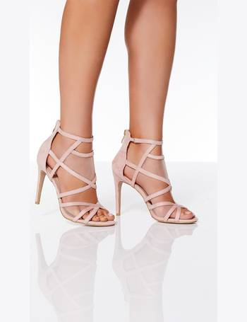 895004725bb Pink Faux Suede Mesh Heel Sandals from Quiz Clothing