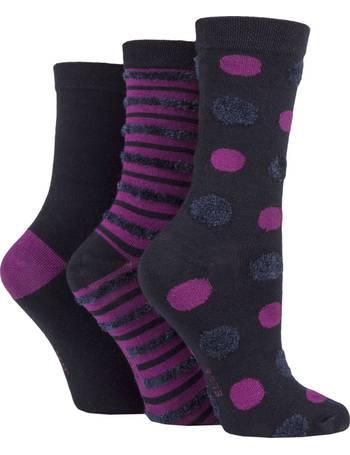 Ladies 3 Pair Elle Embroidered Bamboo Socks