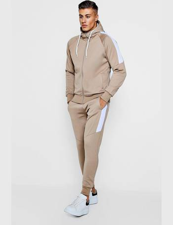 0139d94d8c84 Tricot Zip Through Tracksuit With Contrast Panels from boohooMan