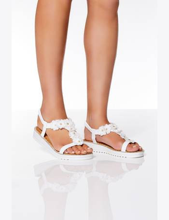 e79cc03497a4 White Fabric Floral Flat Sandals from Quiz Clothing