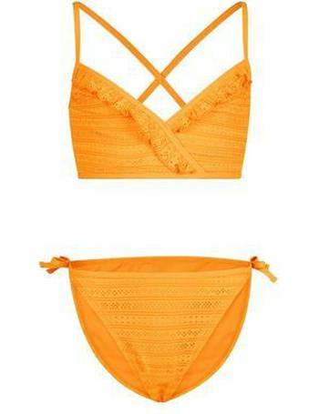 3486581ecffa9 Girls Orange Crochet Cross Back Bikini Set New Look from New Look