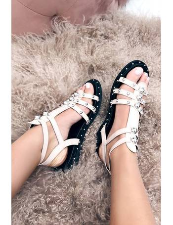 e2e98a51879 Bradie Pink Metal Stud Sandals from Miss Pap