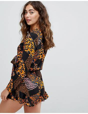 4d292e42e5 tie front playsuit in multi animal print from ASOS