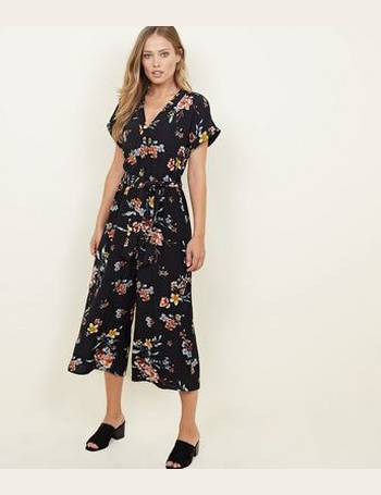 1b93bcd36be8 Black Floral Button Front Culotte Jumpsuit New Look from New Look