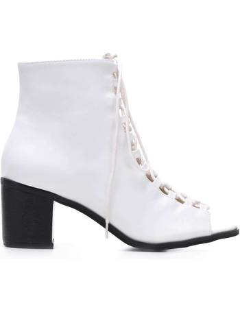32428a051bc White Lace up Peep Toe Shoe Boots