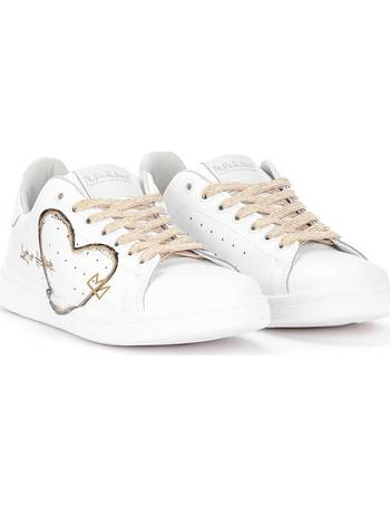 109310d9d8aa Daiquiri white leather sneaker with hand-painted black and gold from Spartoo