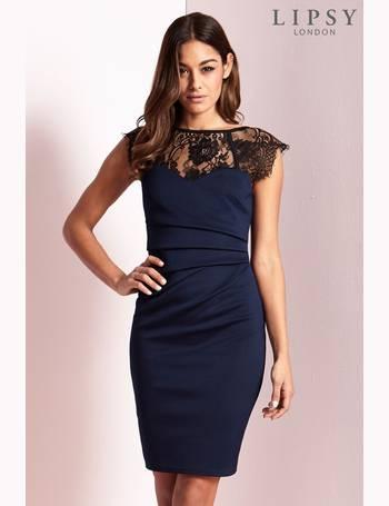 Petite Short Sleeve Lace Eyelash Bodycon Dress from Next 3cc062117