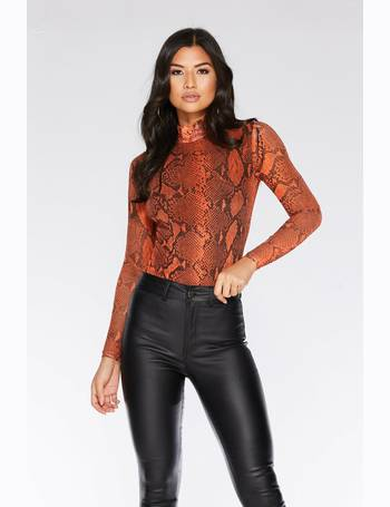 3491a4f3ce Rust Snake Print Long Sleeve Bodysuit from Quiz Clothing