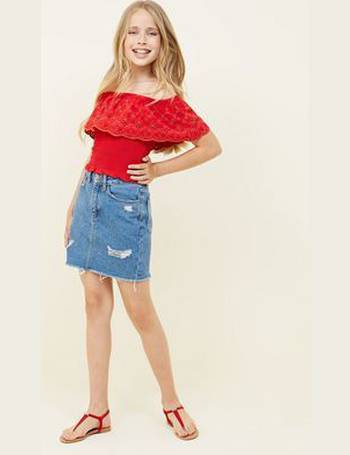 46631946ce074a Girls Red Floral Cut Out Shirred Bardot Top New Look from New Look