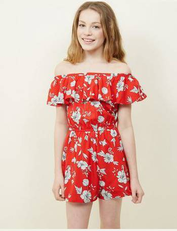 58a09e30418 Girls Red Floral Frill Playsuit New Look from New Look