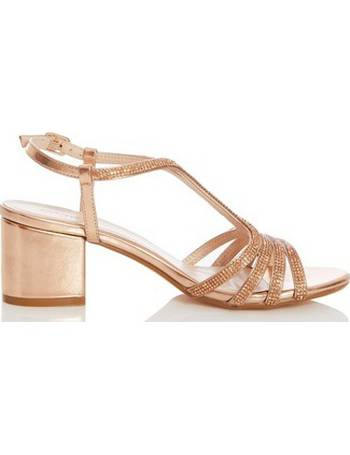 1659fa2590b Womens Quiz Rose Gold Diamante Strap Block Heel Sandals- Rose Gold from Dorothy  Perkins