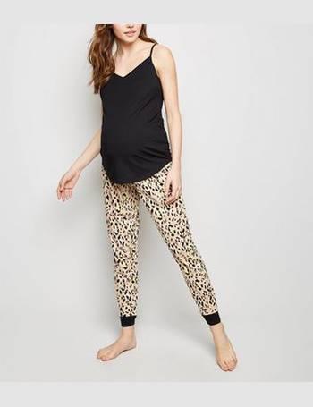 f3fd36e179160 Maternity Stone Leopard Print Joggers Pyjama Set New Look from New Look