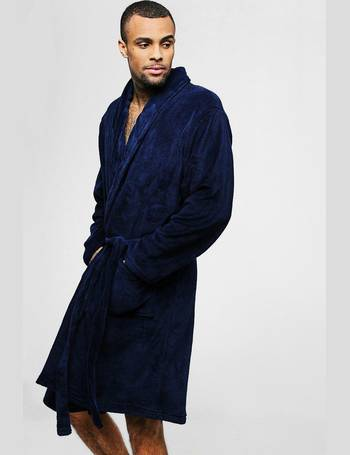 29ebdd7a8085 Collared Fleece Robe With Pockets from boohooMan