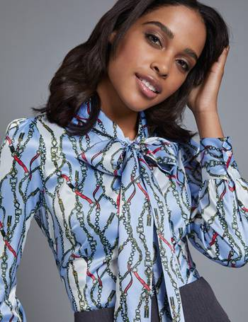 d5d18ccb514403 Women's Blue & White Chain Print Fitted Satin Blouse from Hawes & Curtis