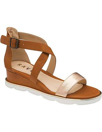 Ravel Marion Leather Mule Wedge Sandals for Women Silver