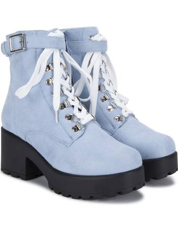 589ed503b2c Light Blue Suede Chunky Platform Biker Boots with White Laces and Ski Hooks  from KOI Footwear