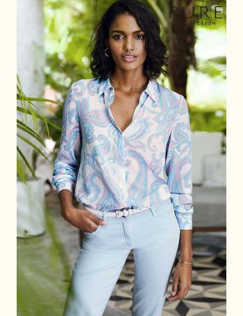 8f161ae65aa5c8 Pure Collection. Blue Relaxed Washed Silk Blouse. from Next