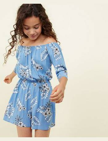 4c6a04d2d0f Girls Blue Floral Bardot Playsuit New Look from New Look