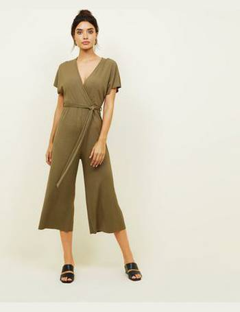c075dfbf8182 Khaki Ribbed Wrap Front Culotte Jumpsuit New Look from New Look