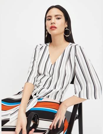 890e14b96521a1 Womens Black Monochrome Stripe Tie Front Blouse from Miss Selfridge