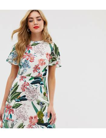 f8b487043fde Oasis. skater dress with high neck in tropical print