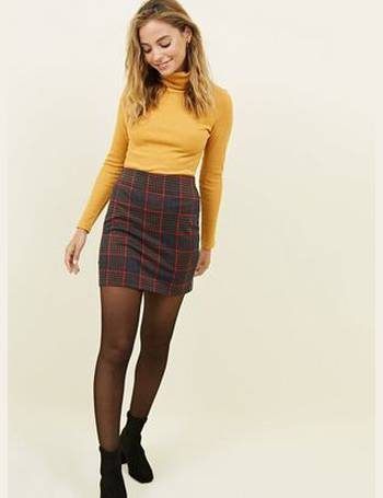 962dfaa977 Petite Blue Houndstooth Grid Check Tube Skirt New Look from New Look