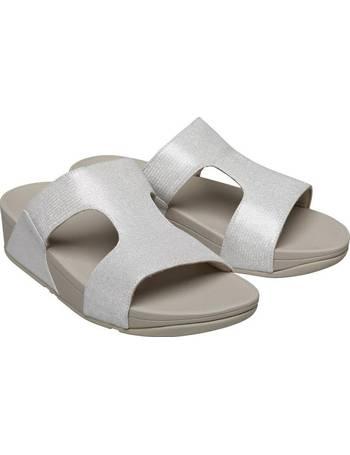 c39ebf6fc Fitflop. Womens Shimmerlizard H-Bar Slide Sandals Silver