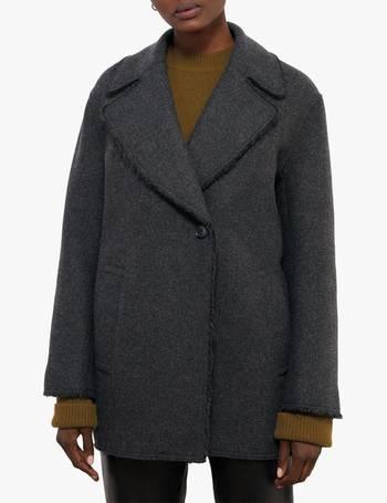 BNWT Womens Jigsaw Urban Boucle Funnel Neck Wool Coat UK10 Plum Rose rrp£250