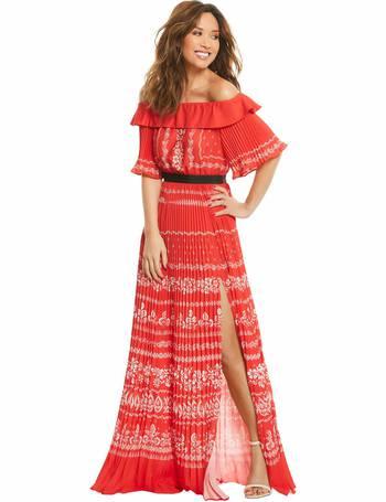 21634c10f044 Myleene Klass. Pleated Bardot Maxi Dress. from Bargain Crazy. £24.99. Deep  V Front Tie ...