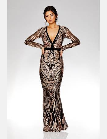 073d2b873a1d Black And Rose Gold Sequin Embellished Fishtail Maxi Dress from Quiz  Clothing