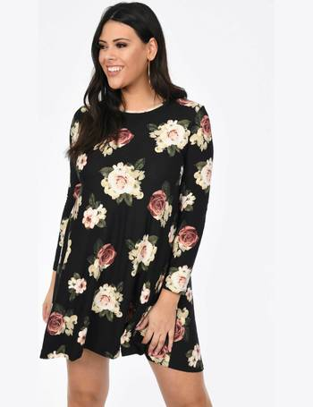 d78091960ef22 Plus Size Black Floral Long Sleeve Swing Dress from Pink Clove