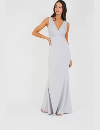 8730c8a7b9 WalG Deep V Grey Lace Maxi Dress from Tfnc