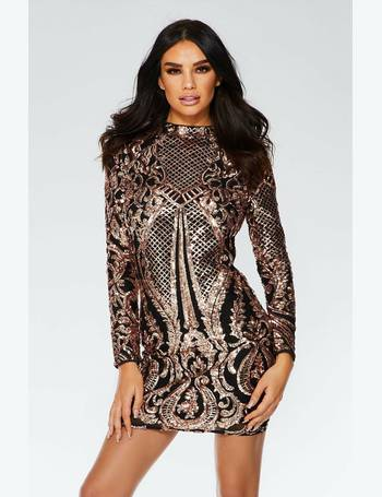 d045639a8684 Black and Rose Gold Sequin Bodycon Dress from Quiz Clothing