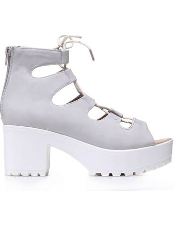 6ecc747d9d1 Stone Grey Chunky Platform Lace up Peep Toe Sandals from KOI Footwear