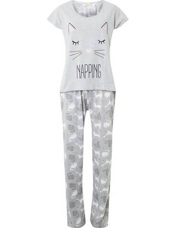 Womens Grey Napping Cat Pyjamas- Grey from Dorothy Perkins a526c326f
