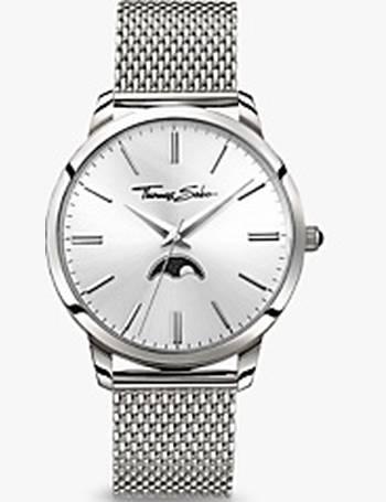 5bc524e7b38538 Thomas Sabo. WA0324-201-201-42 Men's Rebel Spirit Moonphase Mesh Bracelet  Strap Watch