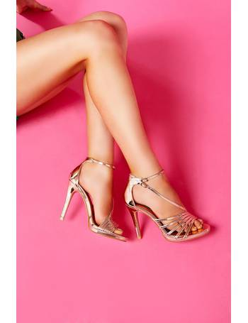 1fda9c59547 TOWIE Rose Gold Metallic High Heels from Quiz Clothing