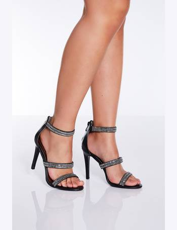 0dd33aaa6f7 Black Diamante Triple Strap Heeled Sandals from Quiz Clothing
