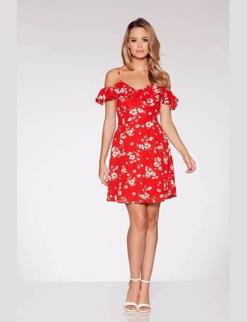 ca1d200e7fb0 Red Floral Print Frill Bardot Tea Dress from Quiz Clothing