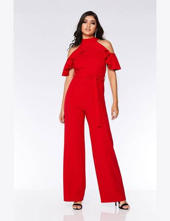 b6088f0c84dc Red Halterneck Frill Cold Shoulder Palazzo Jumpsuit from Quiz Clothing
