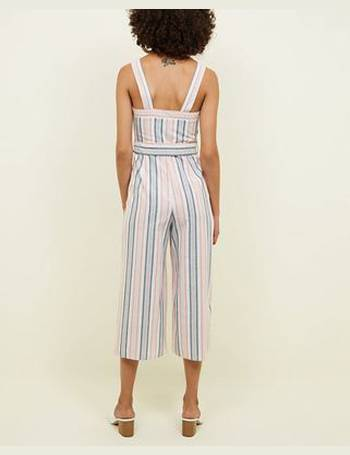 80be988b61 Pink Stripe Button Front Linen-Look Jumpsuit New Look from New Look