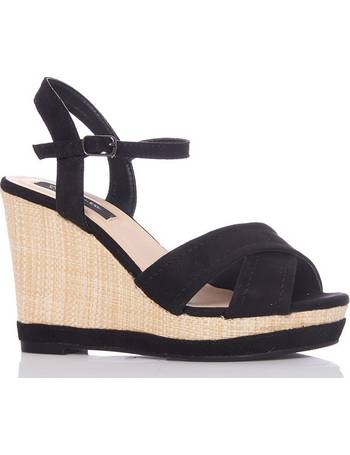 1e2140dbc8 Black Faux Suede Woven Heel Wedge from Quiz Clothing