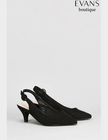 4572f852a10 Black Extra Wide Fit Slingback Kitten Court from Next