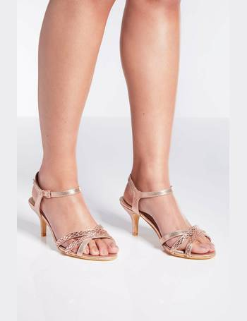 2642c0ca12 Wide Fit Rose Gold Satin Low Heel Sandals from Quiz Clothing