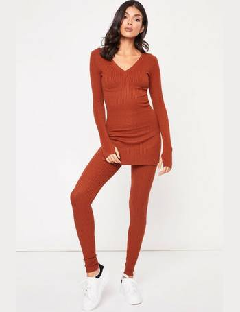Rachelle Rust Ribbed Longline Lounge Set from Miss Pap 0b0734660