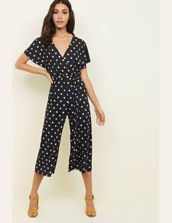 36b7e524db Black Spot Print Wrap Culotte Jumpsuit New Look from New Look